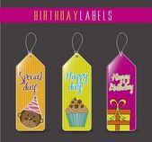 Etiquetas de cumpleaños — Vector de stock