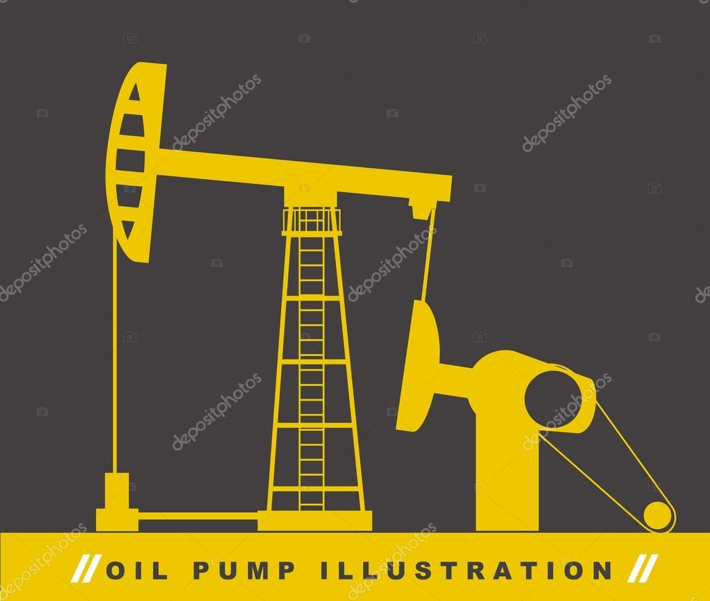 Silhouette oil pump over gray background. vector illustration  Stock Vector #13851142
