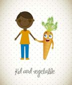 Kid and vegetable — ストックベクタ