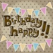 Vector de stock : Happy birthday vintage card