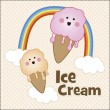Cute ice cream — Stock Vector