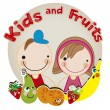Vettoriale Stock : Kids and Fruits