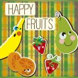 Happy fruits — Stock Vector