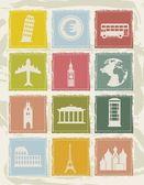 Iconos de europa — Vector de stock