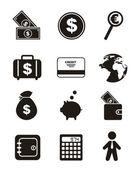Geld pictogrammen — Stockvector