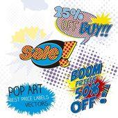 Sale labels pop art — Stock Vector