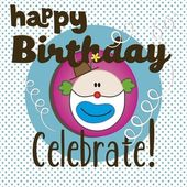 Happy Birthday Clown — Stock Vector