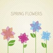 Retro spring flowers — Stock Vector