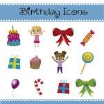 Birthday icons — Stock Vector