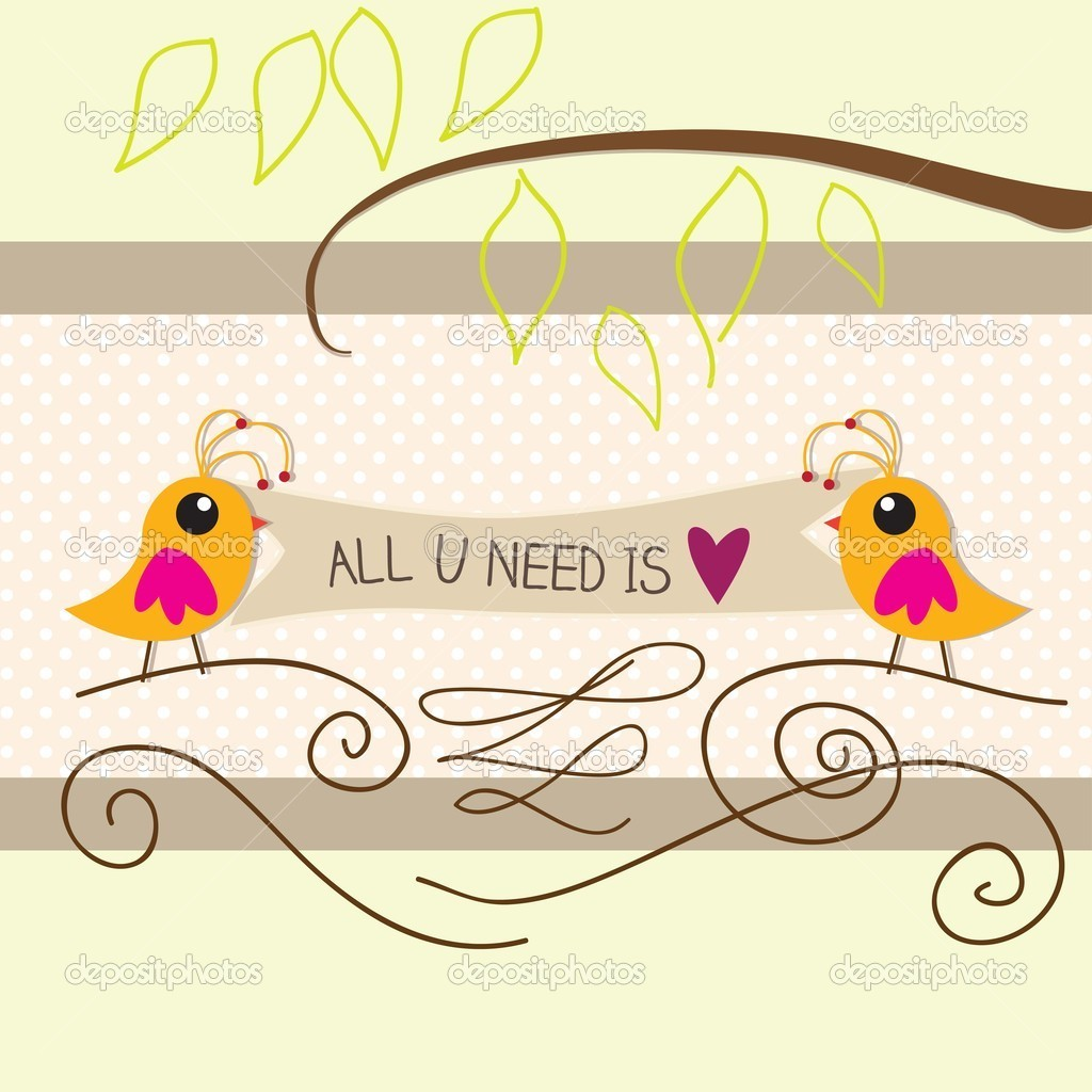 All you need is love birds vector illustration — Stock Vector #15590999