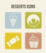 Dessert icons — Vector de stock
