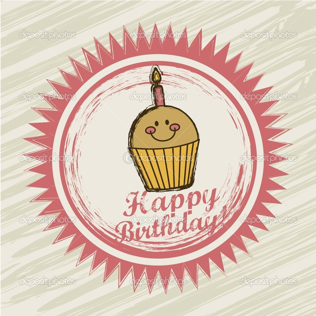 Birthday label over grunge background. vector illustration — Stock Vector #15793823