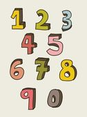 Numbers drawing — Vettoriale Stock