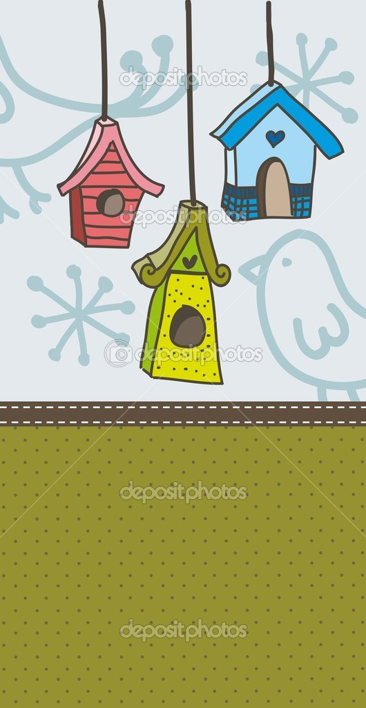 Cute bird houses over vintage background. vector illustration — Stock Vector #17864003