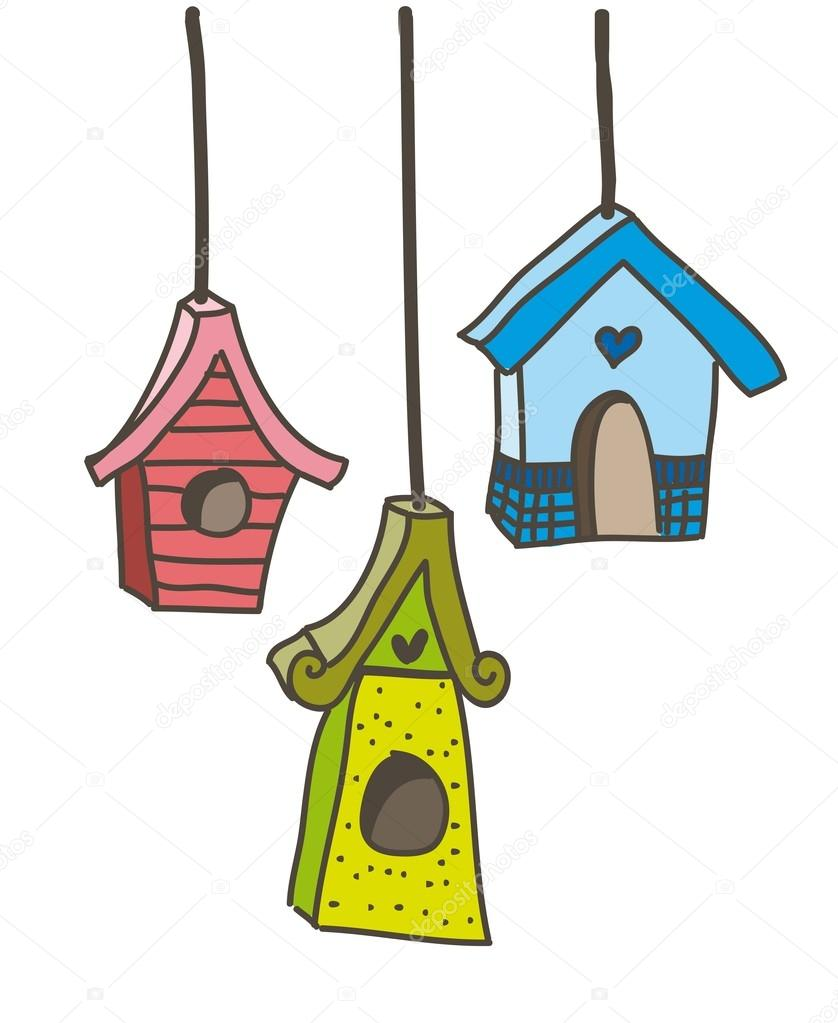 Cute bird houses over white background. vector illustration — Stock Vector #17864005
