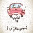 Just married — Stockvectorbeeld