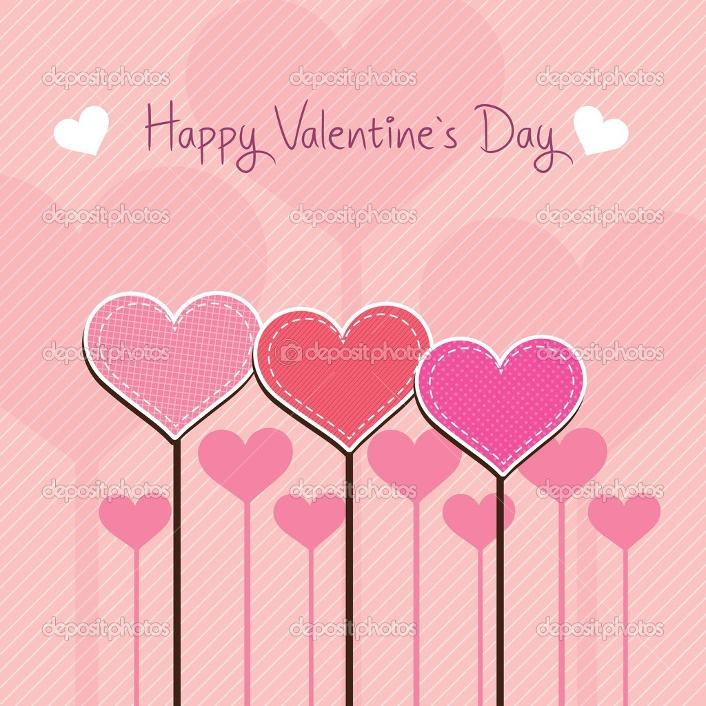 Happy Valentines Day heards stitching on pink background — Stock Vector #18794805