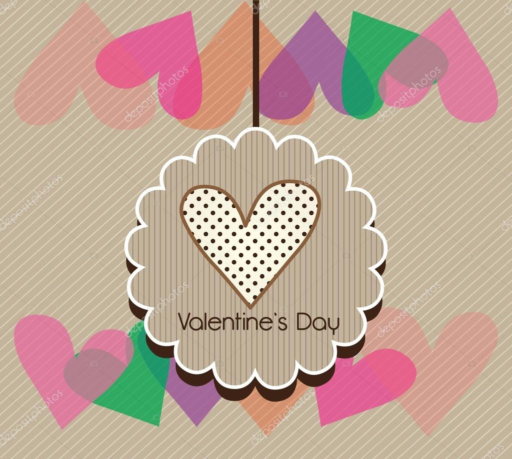 Happy Valentine's Day card. On Beige background with colorful heards.  Stock Vector #18794989