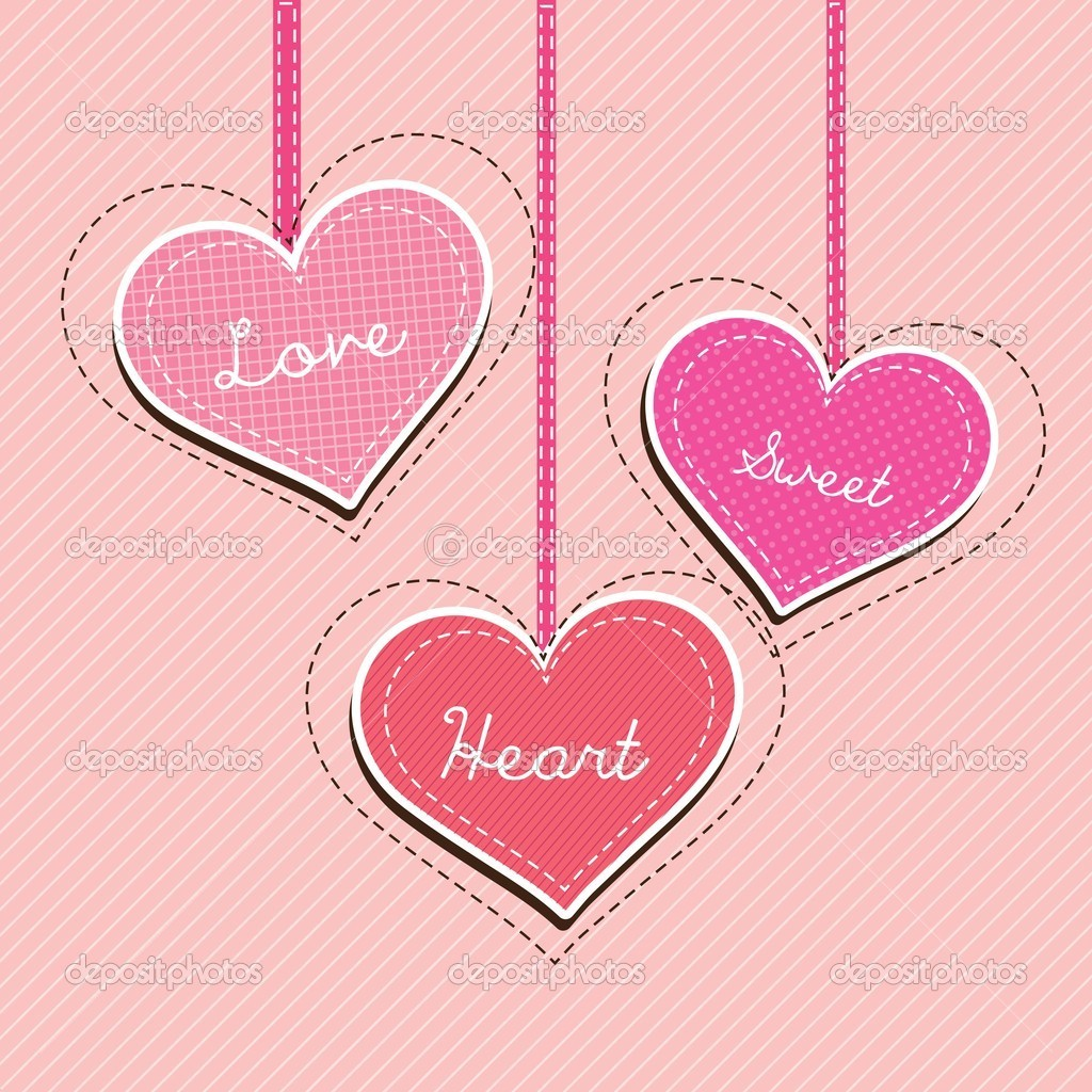 Three hearts hanging on pink background. Vector Illlustration  Stock Vector #18795147