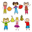 Stock Vector: Kids and fruits