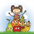 Stock Vector: Kid and fruits