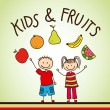 Kids and fruits — Stok Vektör