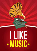 I like music — Stock Vector