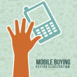 Mobile buying — Stockvectorbeeld