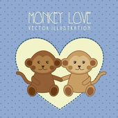 Monkey love — Stock Vector