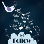 Follow me and follow us — Stock Vector
