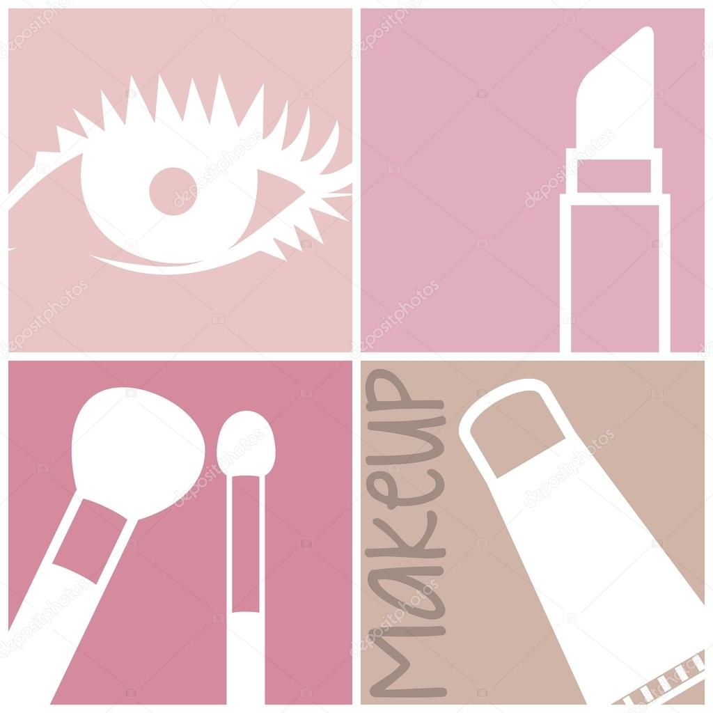 Makeup Icon Vector Makeup Icons Over Squares