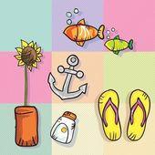 Verano, iconos de sol — Vector de stock