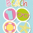 Stock vektor: Beach icons