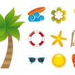 iconos de playa — Vector de stock