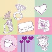 Icônes de l'amour — Vecteur