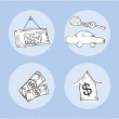 Stock Vector: Rent Icons