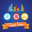 Travel and Transport Icons — Stock Vector