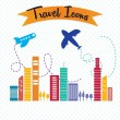 Travel and Transport Icons — Stockvectorbeeld