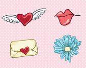 Láska, roztomilý ikony — Stock vektor