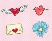 Love, cute icons — Stock Vector