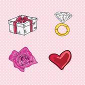 Miłość, słodkie ikony — Wektor stockowy