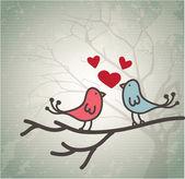 Pair of love birds — Stock Vector
