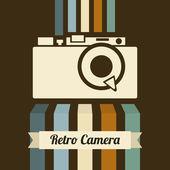 Retro kamera över brun bakgrund. vektor illustration — Stockvektor