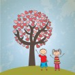Childrens tree hearts — Stockvektor