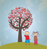 çocuk ağaç kalpler — Stok Vektör