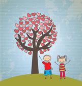 子供の木の心 — ストックベクタ