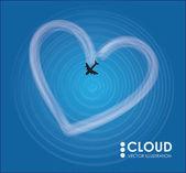 Plano y nube en forma de corazón — Vector de stock