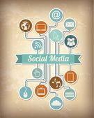Medios sociales — Vector de stock