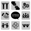 Vector de stock : Monochromatic cooperation icons