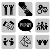 Monochromatic cooperation icons — Stock Vector